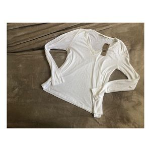 Michael Stars White slub ls v-neck w/ lace